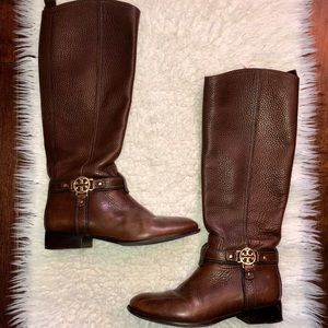 Tory Burch Amanda brown leather riding boots 7